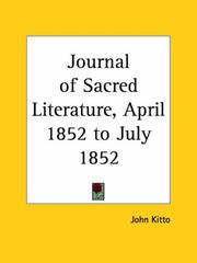 Cover of: Journal of Sacred Literature, April 1852 to July 1852