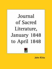 Cover of: Journal of Sacred Literature, January 1848 to April 1848