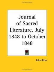 Cover of: Journal of Sacred Literature, July 1848 to October 1848