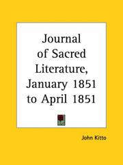 Cover of: Journal of Sacred Literature, January 1851 to April 1851