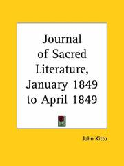 Cover of: Journal of Sacred Literature, January 1849 to April 1849