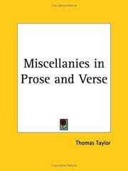 Cover of: Miscellanies in Prose and Verse | Thomas Taylor