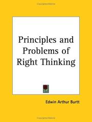 Cover of: Principles and problems of right thinking