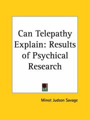 Cover of: Can Telepathy Explain | Minot Judson Savage