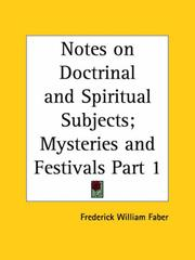 Cover of: Notes on Doctrinal and Spiritual Subjects; Mysteries and Festivals, Part 1
