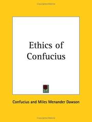 Cover of: The ethics of Confucius