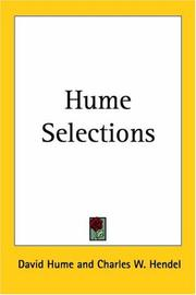 Cover of: Hume Selections