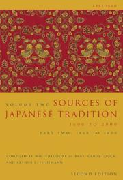 Cover of: Sources of Japanese Tradition, Volume 2, Second Edition, Abridged: Part 1 | Wm. Theodore de Bary