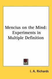 Mencius on the mind by I. A. Richards