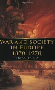 Cover of: War and Society in Europe 1870-1970 (War and European Society)
