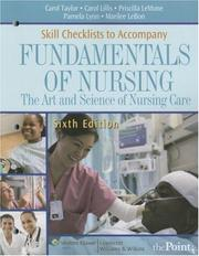 Cover of: Skill Checklists to Accompany Fundamentals of Nursing | Carol Taylor