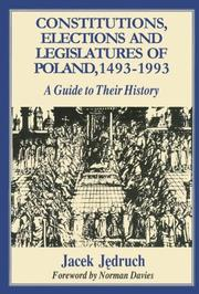 Cover of: Constitutions, elections, and legislatures of Poland, 1493-1993