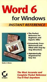Cover of: Word 6 for Windows Instant Reference: Instant Reference (Sybex Instant Reference Series)