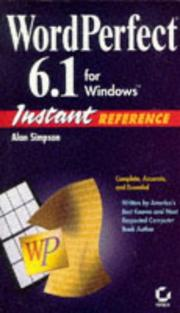Cover of: WordPerfect 6.1 for Windows: instant reference