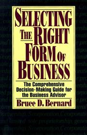 Cover of: Selecting the right form of business