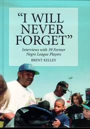Cover of: I Will Never Forget