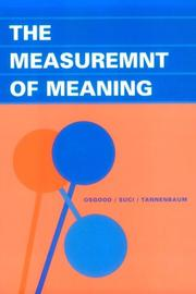 Cover of: The Measurement of Meaning | Charles E Osgood