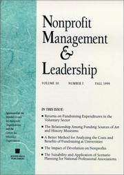 Cover of: Nonprofit Management & Leadership, No. 1, Winter 2000