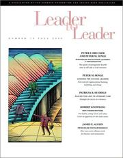 Cover of: Leader to Leader (LTL), Fall 2000 (J-B Leader to Leader Institute/PF Drucker Foundation) | Frances Hesselbein