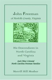 Cover of: John Freeman of Norfolk County, Virginia | Merrill Hill Mosher