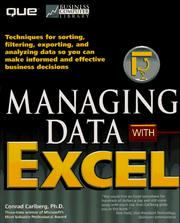 Cover of: Managing data with Excel | Conrad George Carlberg