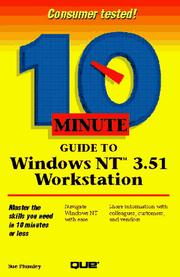 Cover of: 10 minute guide to Windows NT 3.51 workstation