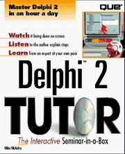 Cover of: Delphi 2 tutor | Michael McKelvy