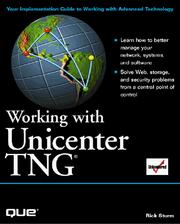Cover of: Working with Unicenter TNG | Rick Sturm