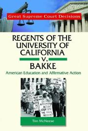 Cover of: Regents of California V. Bakke (Great Supreme Court Decisions)