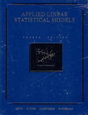Cover of: Applied linear statistical models |