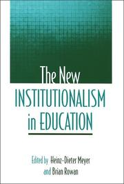 Cover of: The new institutionalism in education |