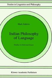 Cover of: Indian philosophy of language | Mark Siderits