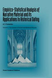 Cover of: Empirico-statistical analysis of narrative material and its applications to historical dating | A. T. Fomenko