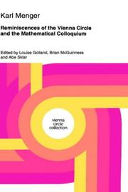 Cover of: Reminiscences of the Vienna Circle and the Mathematical Colloquium | Karl Menger