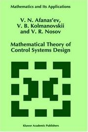 Cover of: Mathematical theory of control systems design