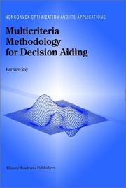 Cover of: Multicriteria methodology for decision aiding