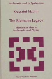 Cover of: Riemann legacy | Krzysztof Maurin