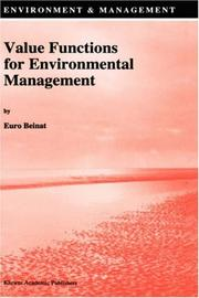 Cover of: Value functions for environmental management