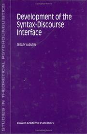 Cover of: Development of the syntax-discourse interface