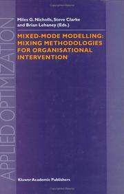 Cover of: Mixed-Mode Modelling |