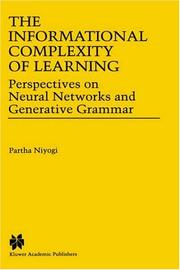 Cover of: informational complexity of learning | Partha Niyogi