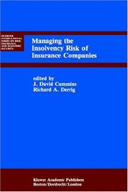 Cover of: Managing the Insolvency Risk of Insurance Companies (Huebner International Series on Risk, Insurance and Economic Security) |
