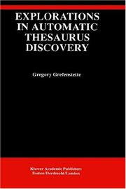 Cover of: Explorations in automatic thesaurus discovery
