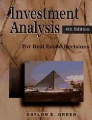 Cover of: Investment analysis for real estate decisions