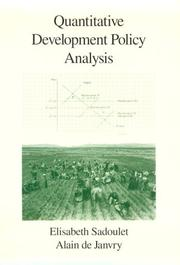 Cover of: Quantitative development policy analysis