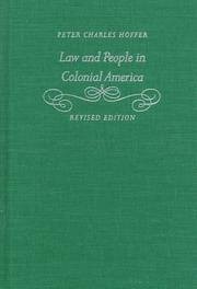 Cover of: Law and people in colonial America