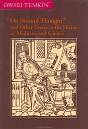 "Cover of: ""On second thought"" and other essays in the history of medicine and science"