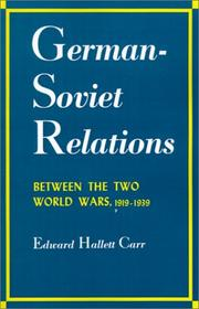 Cover of: German-Soviet Relations Between the Two World Wars (Albert Shaw Lectures on Diplomatic History)
