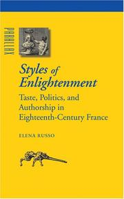 Cover of: Styles of Enlightenment: Taste, Politics, and Authorship in Eighteenth-Century France (Parallax: Re-visions of Culture and Society)
