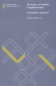 Cover of: The Syntax of Nonfinite Complementation | Zeljko Bokovic